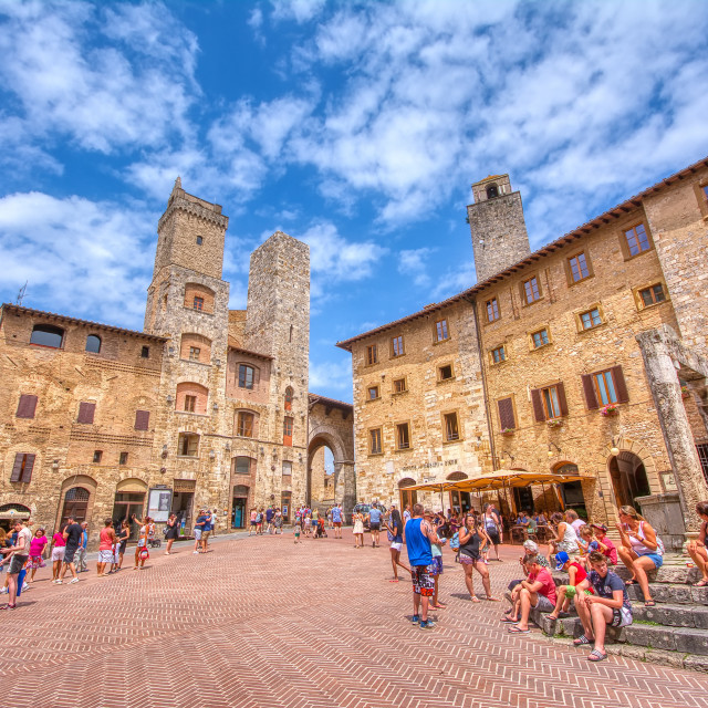 """""""Panoramic view of famous Piazza della Cisterna in the historic town of San Gimignano on a sunny day, Tuscany, Italy"""" stock image"""