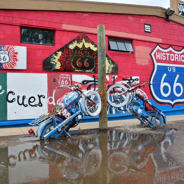 """""""Decorations in the city of Seligman in Arizona at the historic Route 66."""" stock image"""