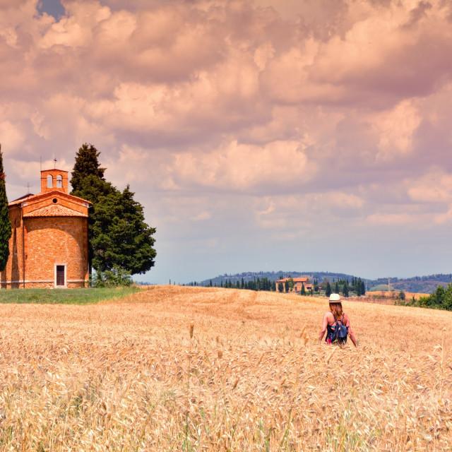 """""""Cappella di Vitaleta , Val d'Orcia in Tuscany."""" stock image"""