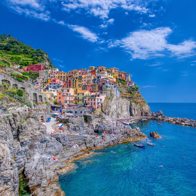 """""""Manarola is a beautiful small town in the province of La Spezia, Liguria, north of Italy and one of the five Cinque terre."""" stock image"""