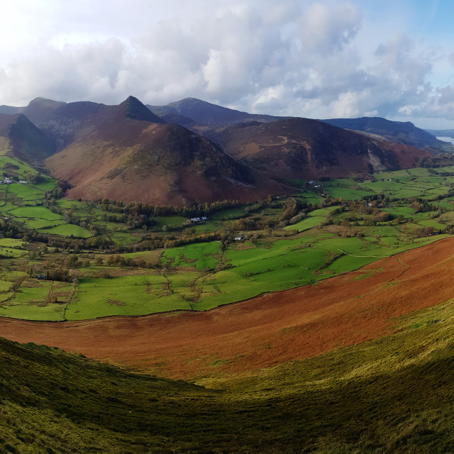 """""""Panorama of Newlands valley from Catbells"""" stock image"""