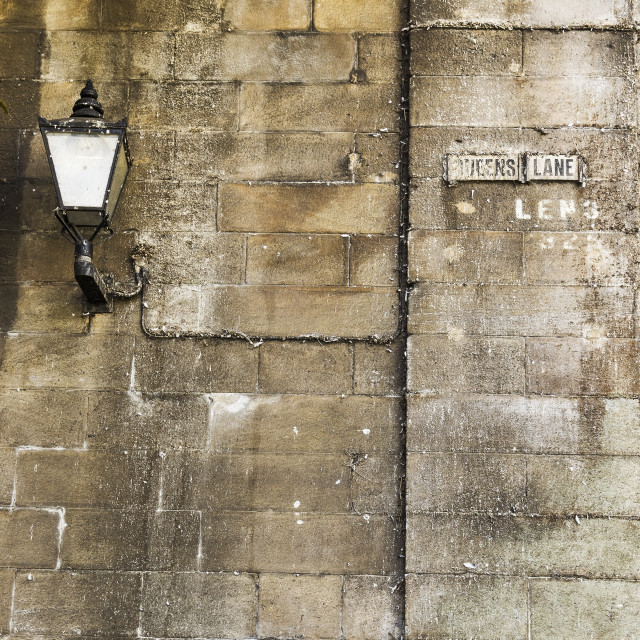 """""""Queens Street sign and old light"""" stock image"""