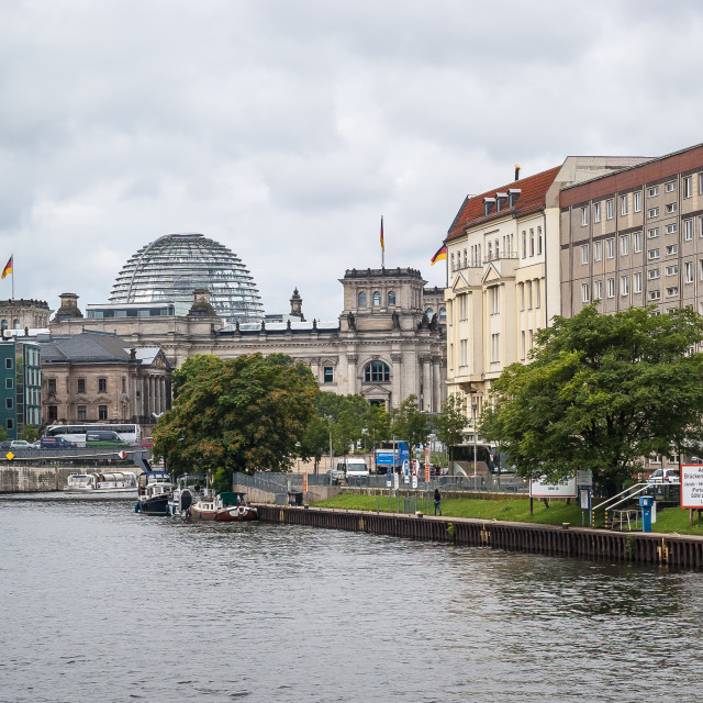 """Reichstag at the river Spree in Berlin"" stock image"