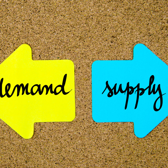 """Message Demand versus Supply"" stock image"
