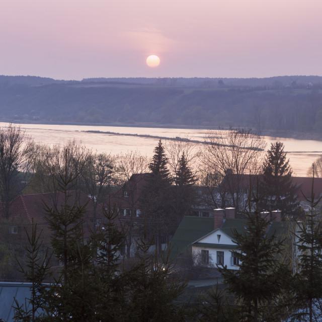 """""""Sunset over Vistula in Kazimierz Dolny"""" stock image"""
