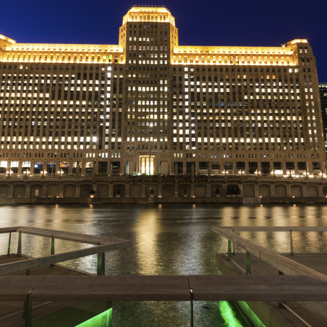 """Merchandise Mart in Chicago at night"" stock image"