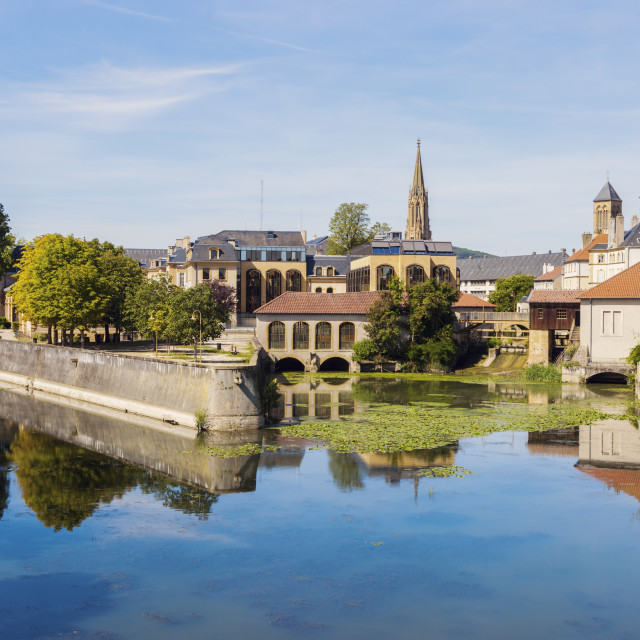 """Architecture of Metz and Moselle River"" stock image"