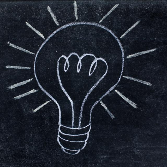 """Lightbulb drawn on balckboard"" stock image"