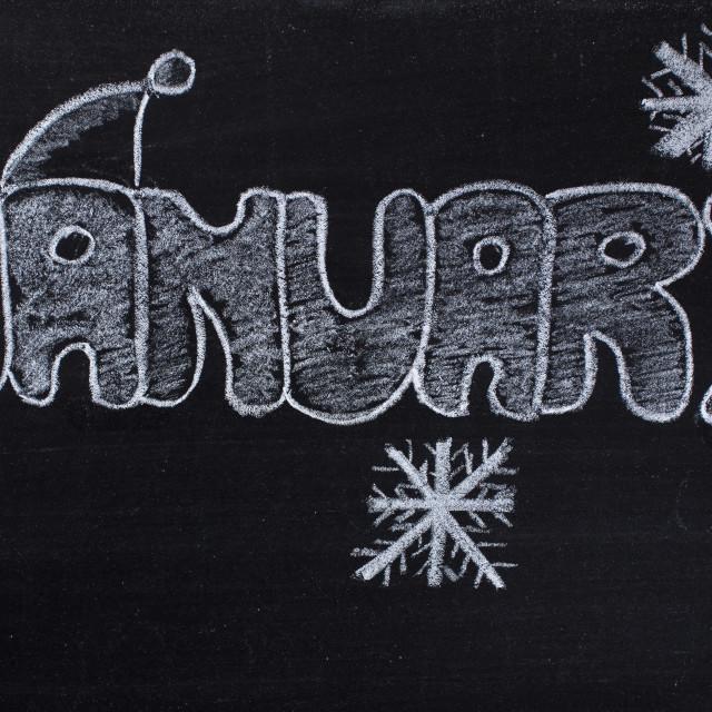 """January handwritten on Blackboard"" stock image"