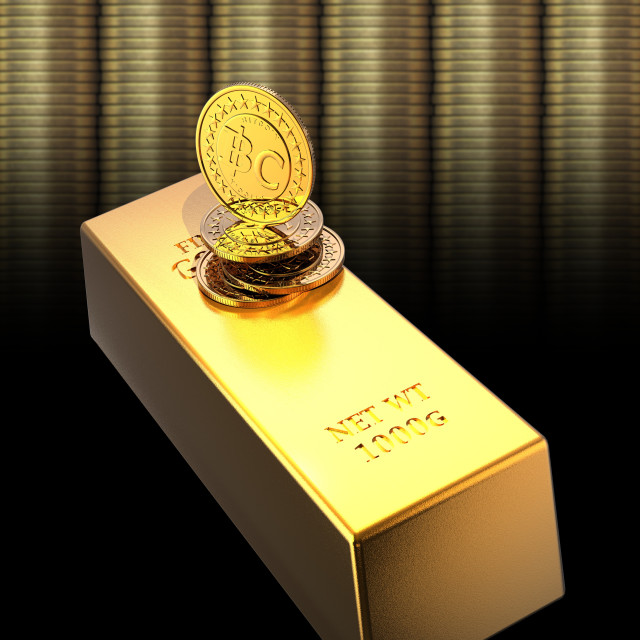 """Bitcoins and gold bullion, illustration"" stock image"