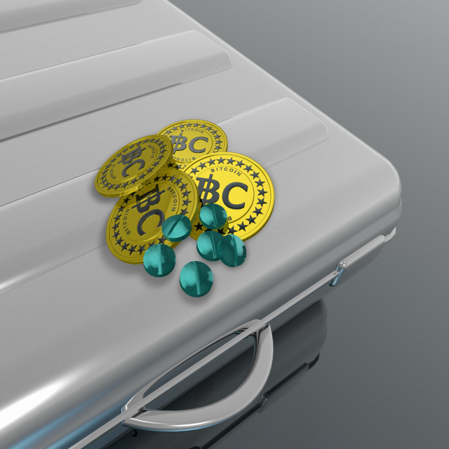 """Bitcoins and pills on briefcase, illustration"" stock image"