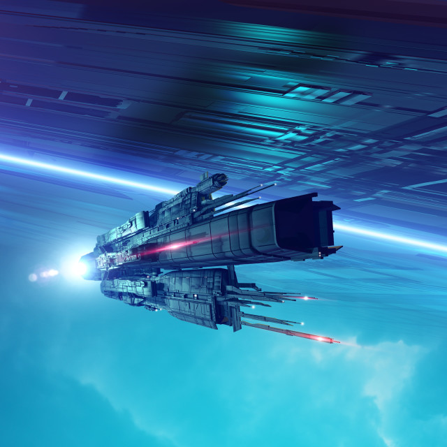 """""""Space craft in space, illustration"""" stock image"""