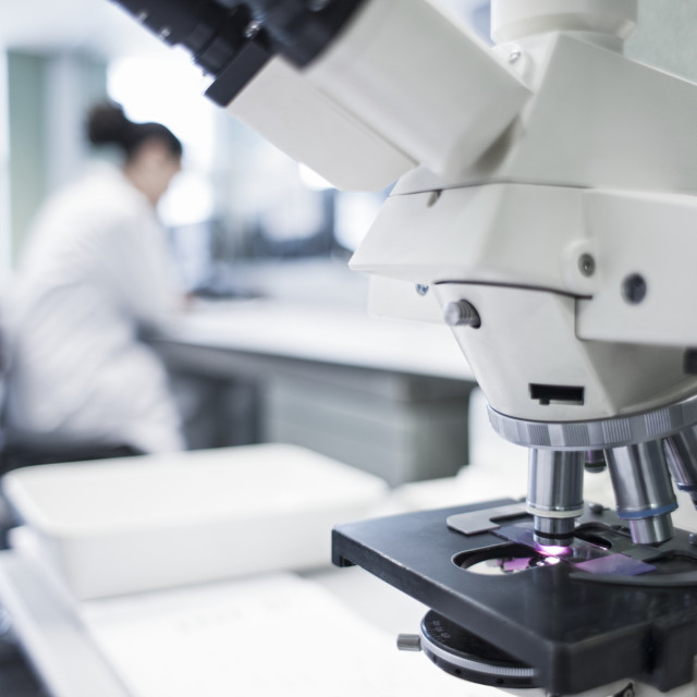 """Microscope in laboratory"" stock image"