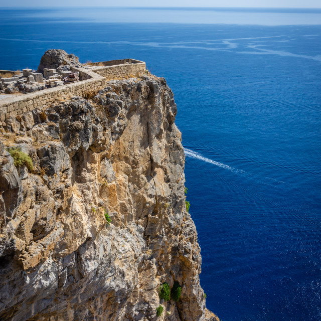 """""""Small part of ancient Lindos acropolis above high reef on Rhodes island"""" stock image"""