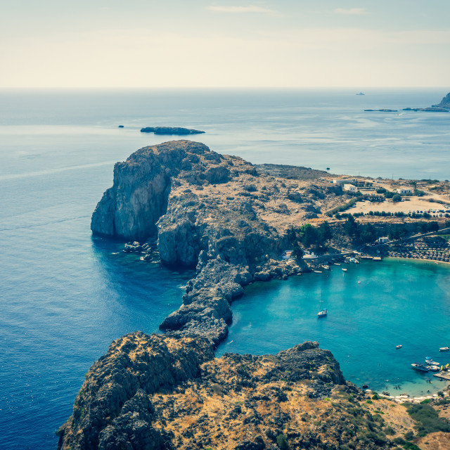 """""""Nice cove on Rhodes island viewed from acropolis of ancient Lindos town"""" stock image"""