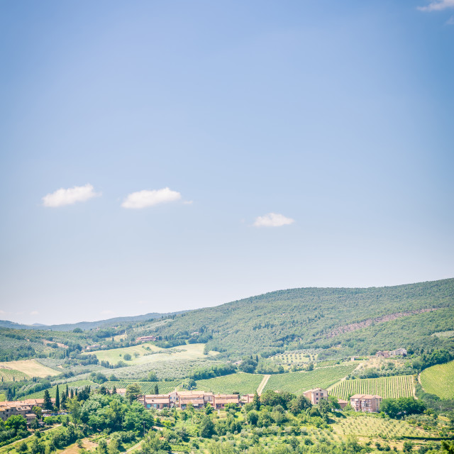 """""""View into italian country near the famous San Gimignano town"""" stock image"""