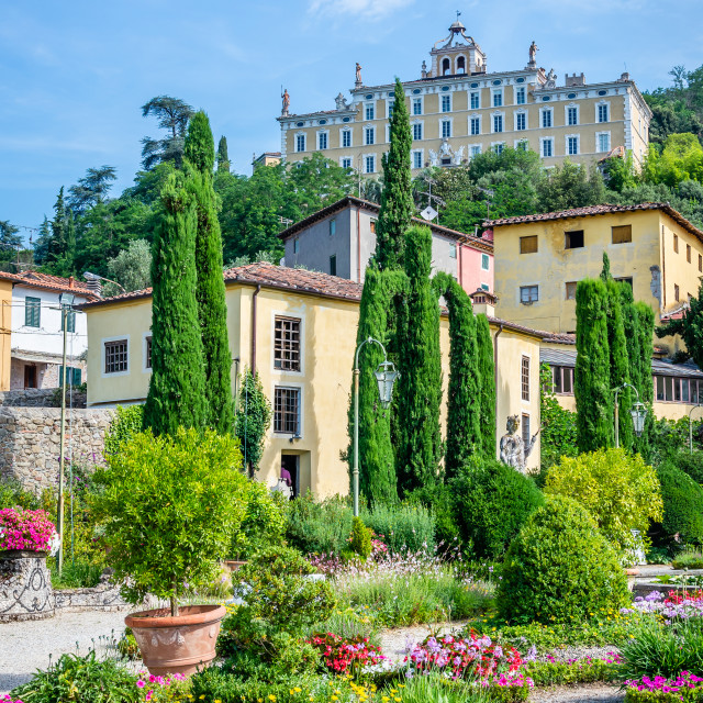 """""""View on famous villa Garzoni in Tuscany with nice gardend in foreground"""" stock image"""