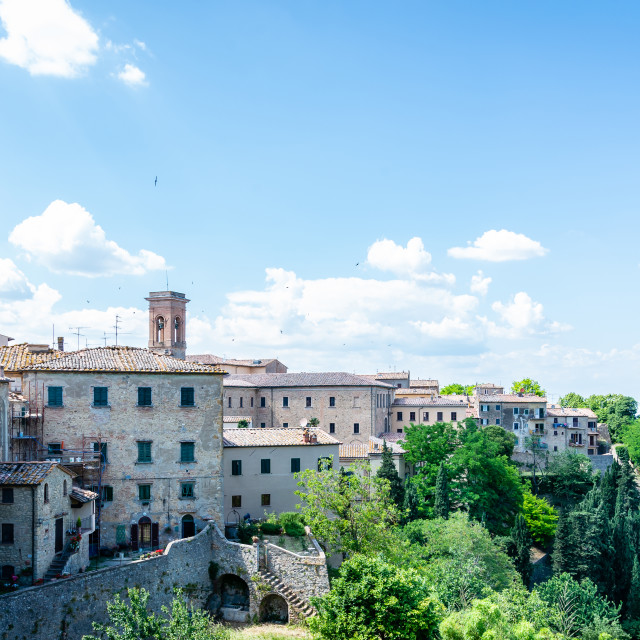 """""""View on several houses on the edge of Voltera town iin Tuscany"""" stock image"""