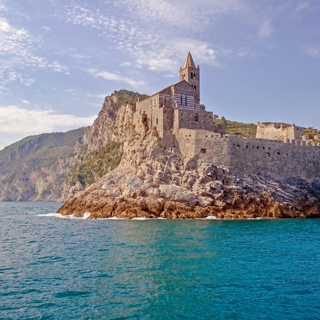 """Church on the Rocks in Portovenere, Italy"" stock image"
