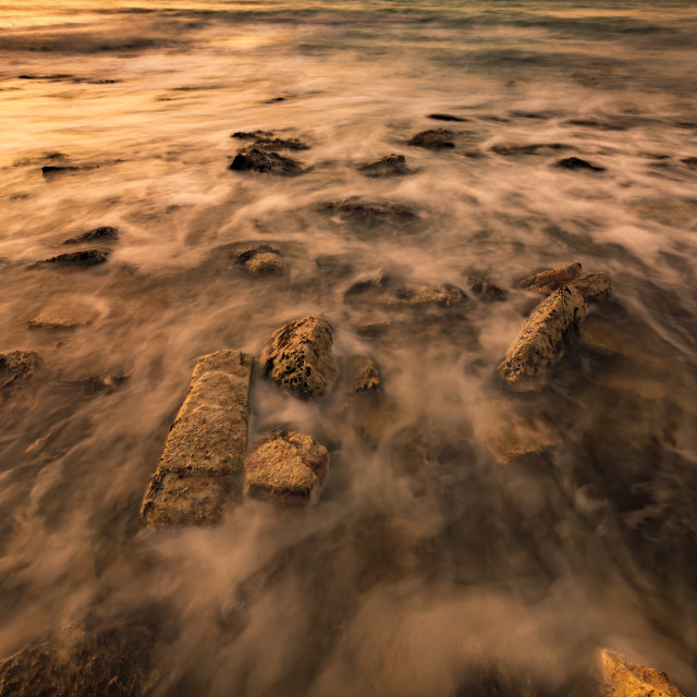 """""""seascape of sea rocks in the water, creating the mood. Art view"""" stock image"""