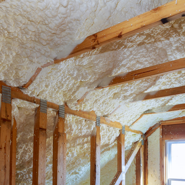 """termal insulation installing at the attic insulation the house"" stock image"