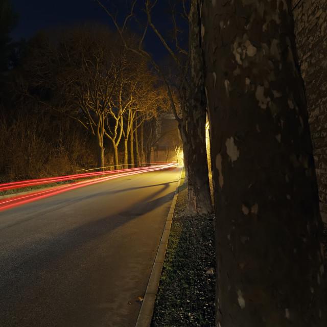 """Car light trails"" stock image"