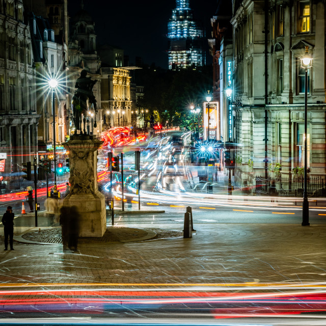 """Light trails down Whitehall"" stock image"