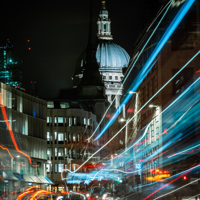 """Light trail at St Paul's Cathedral"" stock image"