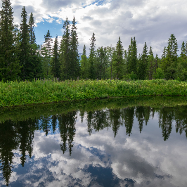 """""""Reflections on a cloudy day"""" stock image"""