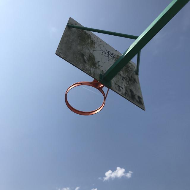 """""""Basketball hoop in blue sky"""" stock image"""