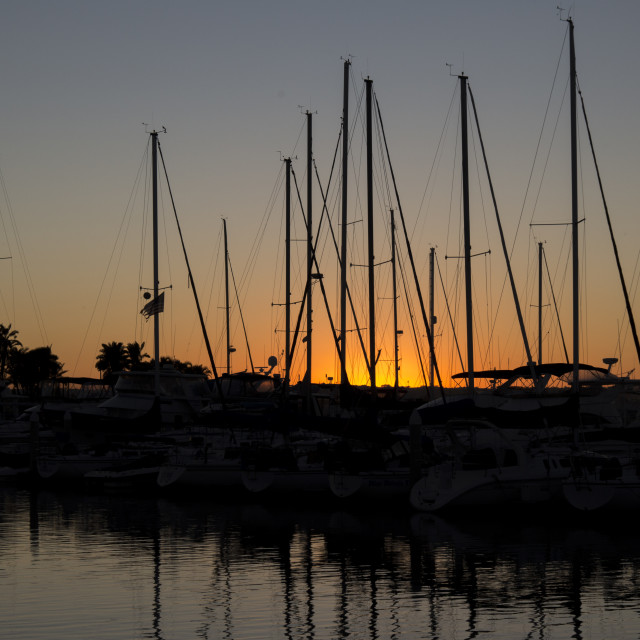 """Sunset in a marina"" stock image"