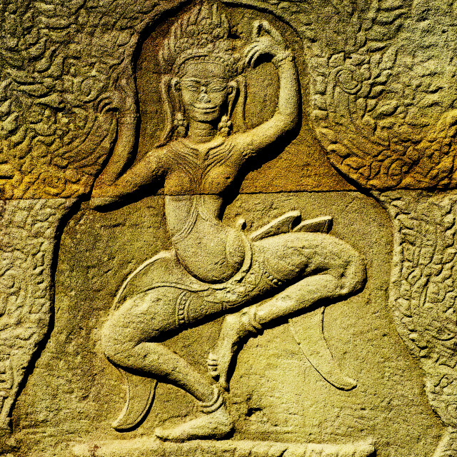 """Bas-relief carvings of Apsara"" stock image"