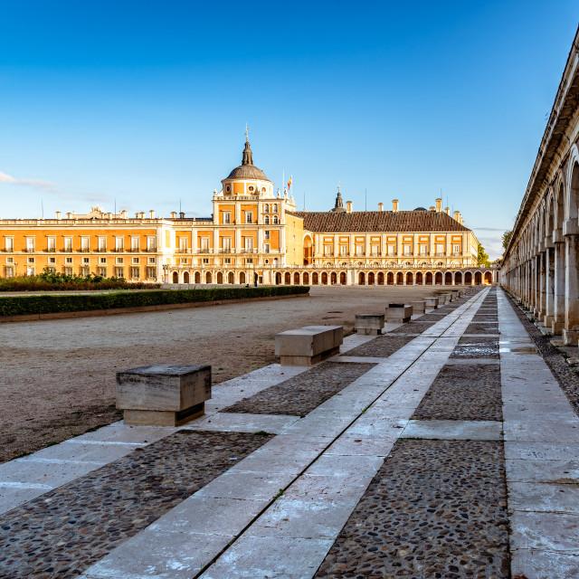 """Royal Palace of Aranjuez at sunrise. Long exposure"" stock image"