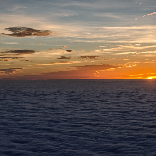 """Sunset in the sea of clouds"" stock image"