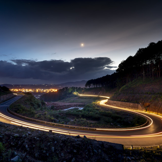 """""""image of the road on the pass in the night, Da Lat city, Vietnam."""" stock image"""