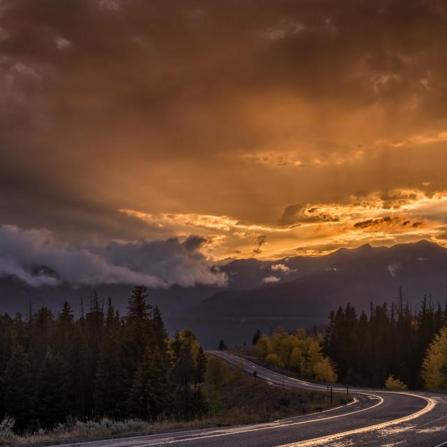 """Beartooth Highway Wyoming Sunset"" stock image"