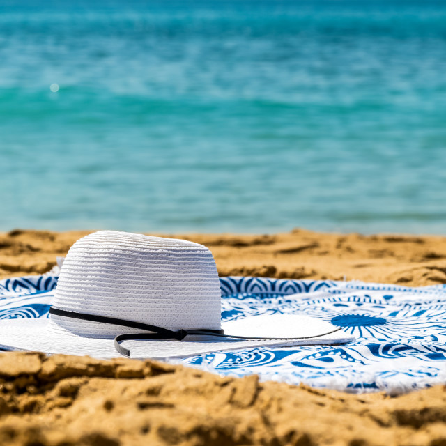 """""""Round Beach Towel, Hat And Sunglasses In Summer Holiday"""" stock image"""