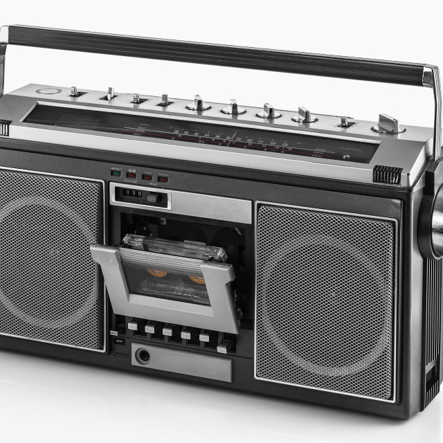 """1980s Silver retro radio boom box on white background"" stock image"
