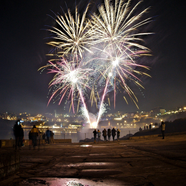 """Fireworks over Newquay"" stock image"