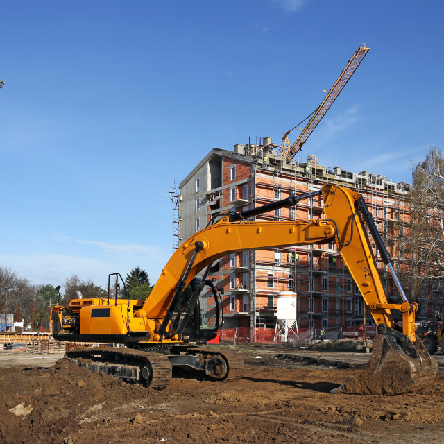 """""""excavator and cranes on construction site"""" stock image"""