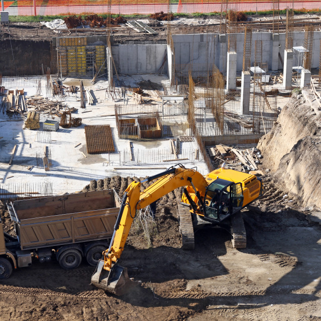 """""""excavator on the construction site"""" stock image"""