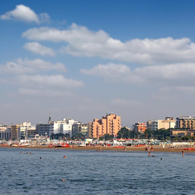 """beach Adriatic sea Rimini cityscape Italy summer season"" stock image"