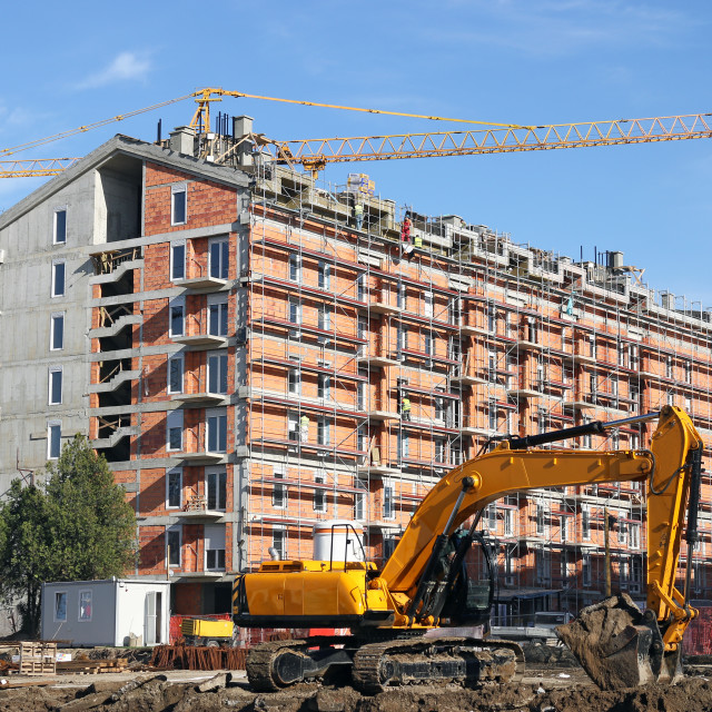 """""""excavator and cranes on new building construction site"""" stock image"""