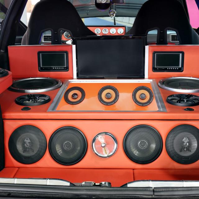 """custom car powerful audio system"" stock image"