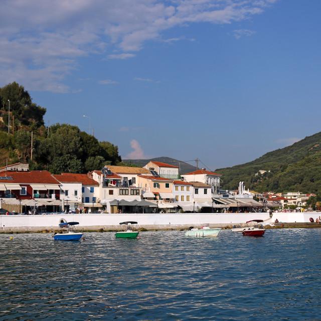 """boats in port Parga tourist destination Greece summer season"" stock image"