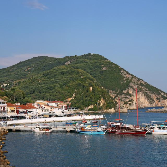 """sailboats in the harbor Parga Greece summer season"" stock image"