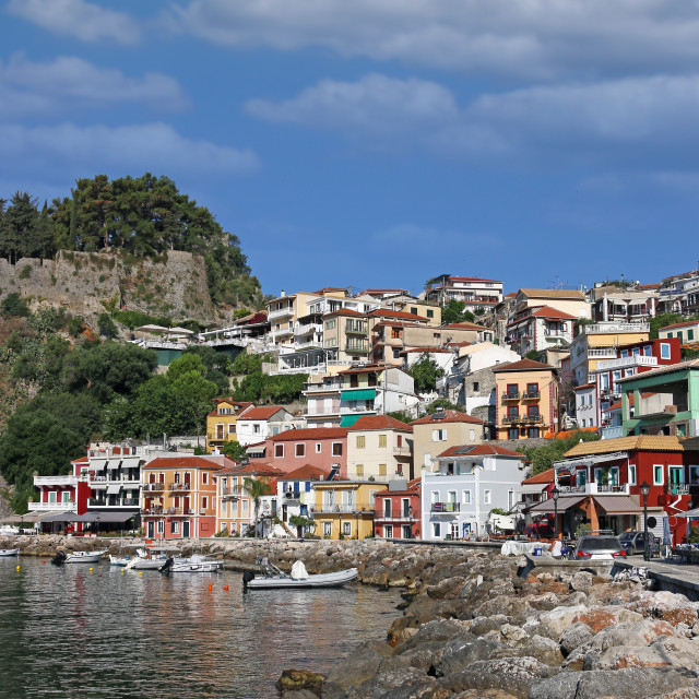 """""""colorful buildings and old fortress Parga Greece"""" stock image"""