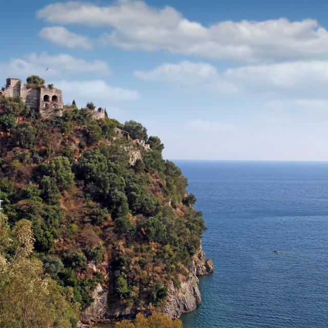 """old ruined castle on hill Parga Greece summer season landscape"" stock image"