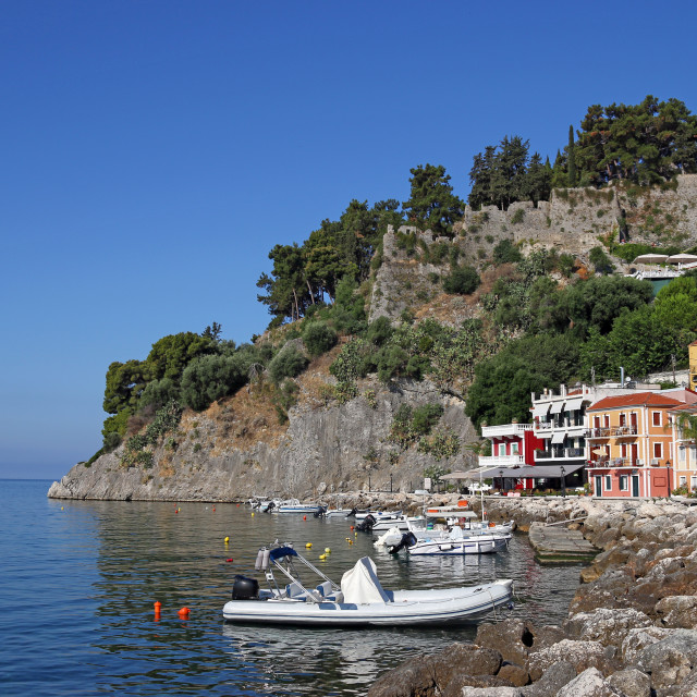 """""""colorful buildings and old fortress Parga Greece summer season"""" stock image"""