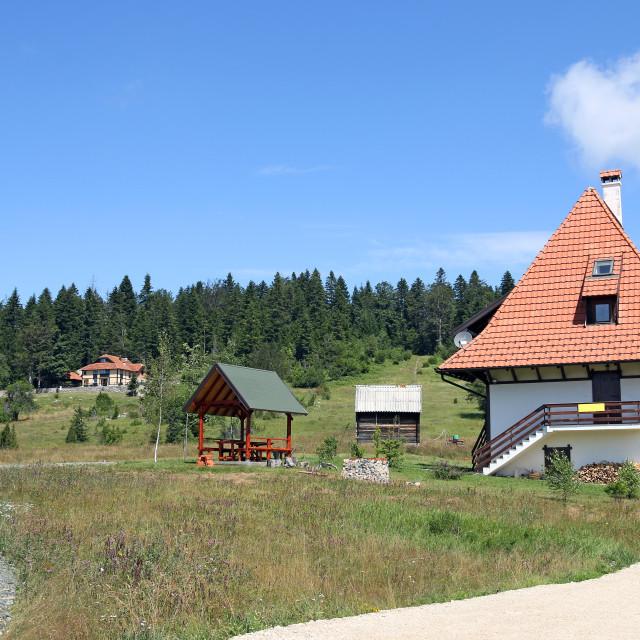 """little house on Tara mountain Serbia"" stock image"